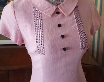SOLD Original Vintage 1960s Baby Pink Shift Mini Dress by Model Merrymade