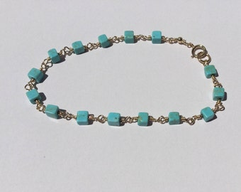 Turquoise beaded bracelet; gold and turquoise bracelet; beach jewelry
