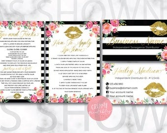 Stripe Lipsense Business Card Bundle Gold/Black/Pink Flower/Fancy Card
