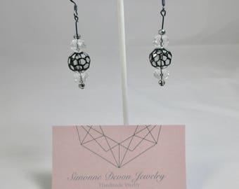 The Madison- Black and Clear Geometric Dangle Earrings