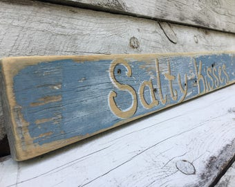 Salty Kisses Hand Painted Beach Sign
