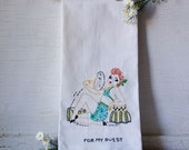 1940's Vintage Applique Glamour Girl Powder Room Towel ~ Birdseye toweling - Canon Towel - Shabby Cottage Chic Decor