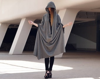 Hooded cloak, Cape, Medieval cloak, Wool cloak, Black cloak, Hooded cape, Cloak Clasp, Dark gray coat, Long hooded cloak, Gothic cloak