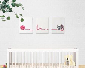 Set of 3 paintings. Woolen Love. Kitten. Toddlers bedroom. Acrylic paintings.
