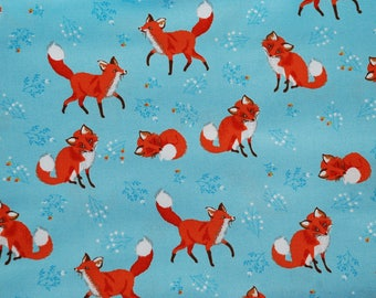 Robert Kaufman Forest Fellows Foxes/Blue/Cotton/Fabric/Sewing/Quilting