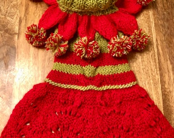 CHRISTMAS MISS ELF Dress Bespoke HandKnitted Custom Made Especially for You