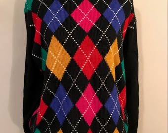 """Vintage Alfred Dunner Argyle Wool Sweater - Primary Colors - Red Yellow Blue Green - Size """"40"""""""