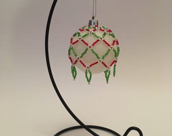 Christmas Tree Decoration / Red, Green and Silver Hand Beaded Christmas Ornament Cover