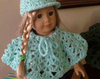"""18"""" Doll 2 piece Light Turquoise Poncho/Hat."""