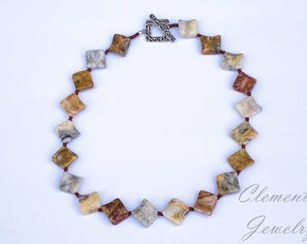 Beaded Necklace, Fancy Wavy Crazy Lace Agate and TOHO Bead Necklace with Designer Silver Toggle Clasp