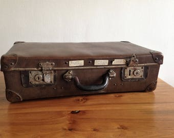 Antique French - leather metal box - vintage suitcase