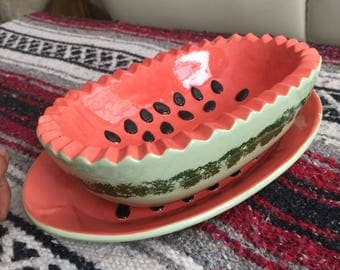 Watermelon Bowl and Plate | Fruit Serving Dish | Medium Watermelon Pottery