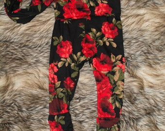 Baby flower child - scalable - red pants - leggings