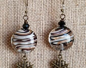 Bronze Swirl Snowflake Earrings