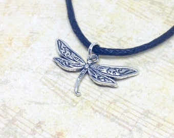 Dragonfly Choker Necklace, Dragonfly Necklace, Dragonfly Jewellery, Nature Jewelry, Simple Choker, Black Cord Choker, Gothic Dragonfly