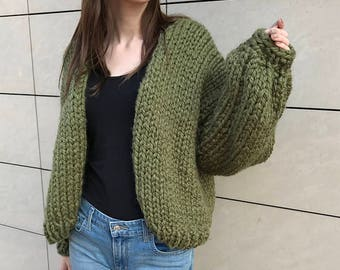 Hand knit sweater women Christmas gift girlfriend puff sleeve clothing knit women jacket bomber jacket small green knit cardigan oversized