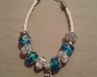 Blue and White Glass Beaded Bracelet with an Anchor Charm