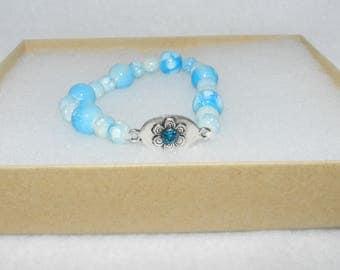 Aqua Glass Stretch Bracelet