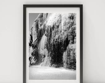 Black and White Photo, Black and White Wall Art, Printable, Printable Art, Instant Digital Download, Hot Springs, Waterfall Photo, Jordan
