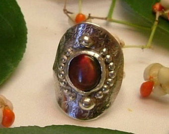 Ammolite Ring Size 12 Sterling Silver Dragon Eye OOAK Large Boho Gem Saddle Ring Utah Deposit Statement Ring Red Green Yellow Fire 335G