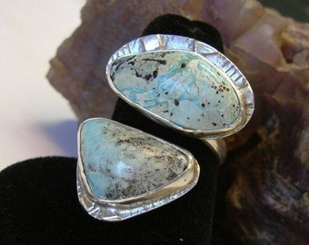 Turquoise Ring Sterling Silver Adjustable Size 7 to 9 1/2 Large Utah Gem Statement Ring Statement Jewelry Blue Brown Black 089G