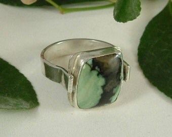 Utah Variquoise Mens Ring Sterling Silver Variscite Transitioning Turquoise Fine Sterling Silver Size 12 Ring Blue Green Brown Black 385 B