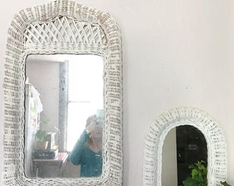 Vintage woven white wicker mirror, shabby chic wall hanging mirror