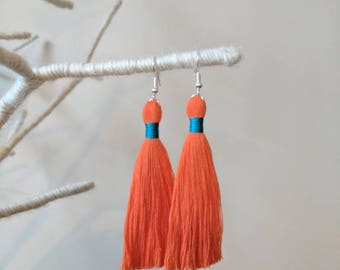 Orange tassel earrings teal turquoise silk wrap cotton 8cm 3 inch handmade in UK orange tassle earrings boho statement earrings