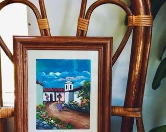 spanish village painting / lifestyle painting / original painting / mother and child art / folk art
