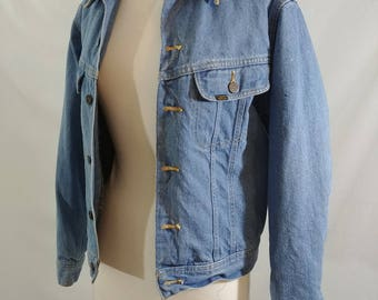 Vintage 70's/80's Small Lee Denim Storm Rider Blanket Lined Jean Jacket, Retro Made in Canada Storm Rider