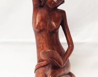 Beautiful Woman (Gadis) with Mirror, Hand-carved Suar Wood from Mas, Bali, Indonesia