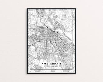 Amsterdam City Map Print, Clean Contemporary poster fit for Ikea frame 24x34 inch, gift art for him her, Anniversary personalized travel