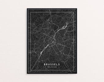 Brussels Black City Map Print, Clean Contemporary poster fit for Ikea frame 24x34 inch, gift art him her, Anniversary personalized travel