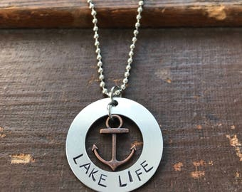 Lake Life Summer Necklace Boating Hand Stamped Anchor