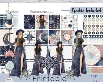 Cosmos printable planner stickers. Erin Condren and Happy Planner weekly kit. Girls glam galaxy celestial stars sun zodiac moon astrology