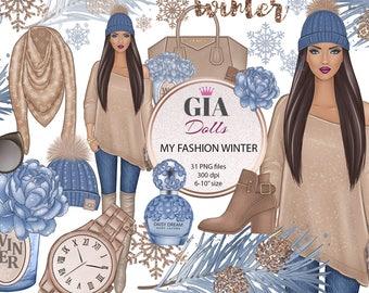 Winter clipart, winter fashion clipart, fashion clipart, christmas clipart, snowflakes clipart,png