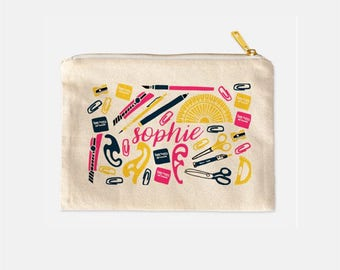 Monogram Cosmetic Bag, Cosmetic Travel Bag, Personalized Teacher Appreciation Gifts, Math Teacher Gifts, Cute Makeup Bags, 9.5 x 7