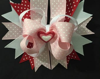 Heart Embellished Valentine's Day Hair Bow