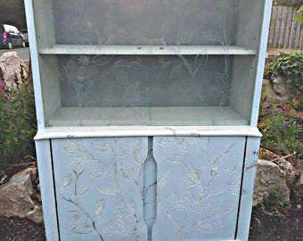 1960's Side Cabinet Engraved with a Leaf Pattern with sliding glass display