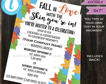 Rodan Fields Invitation Business Launch Party BBL Invite R+F Cocktails & Conversation Fall in Love Skin Printable INSTANT Self EDITABLE 5x7