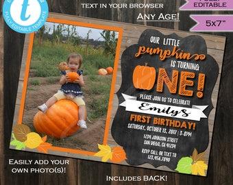 Pumpkin Birthday Invitation Fall Baby - First Birthday Invite Any Birthday Any Age - 1st One Chalkboard Printable 5x7 INSTANT Self EDITABLE