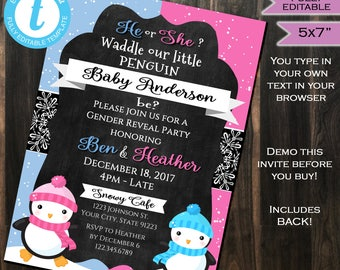 Penguin Gender Reveal Invitation Baby Shower Invite - Waddle Baby Snow Winter Chalkboard Template Custom Printable INSTANT Self EDITABLE 5x7