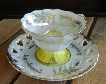 Royal Halsey Pedestal Tea Cup and Saucer, Yellow and Gold Floral Design, Lipper & Mann, Lusterware