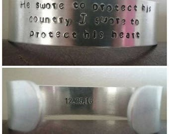 Hand Stamped Military Girlfriend Wife Metal Cuff