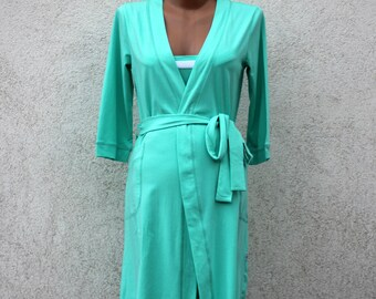 Mint maternity cotton robe, pregnant robe. Hospital robe, hospital gown.