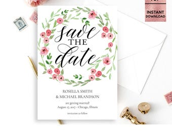 Floral Pink Green Save the Date Card Template, Printable 5x7 Save the Date with Script Font, DIY Template, Editable PDF, Digital Download