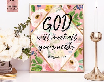 GOD will meet all your needs, Philippians 4:9, Floral Bible Art Prints, Bible Quote, Bible Verses, 8x10, 11x14, JPEG, PDF, Digital Download