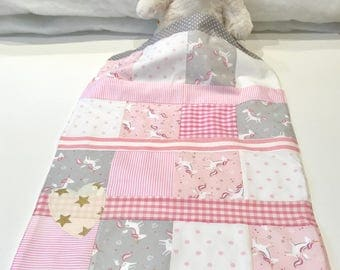 baby blanket, patchwork blanket, fleece, pink and grey blanket, christening present, free shipping