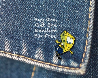 BUY 1, GET 1 Random Pin Free! SpongeBob Meme Enamel Pin SpongeBob Ripped Lapel Pin Badge Spongebob Pin Soft Enamel Pin Funny Pin Cute Pin