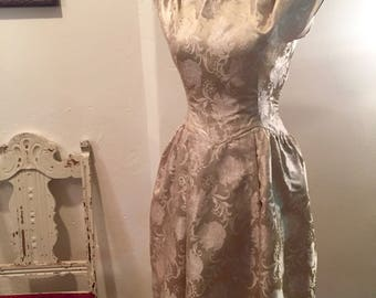 Gorgeous Vintage Champagne Colored Brocade Dress, 1950's